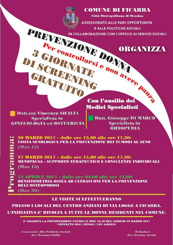ficarra – il mese della festa della donna: in programma tre eventi sulla prevenzione