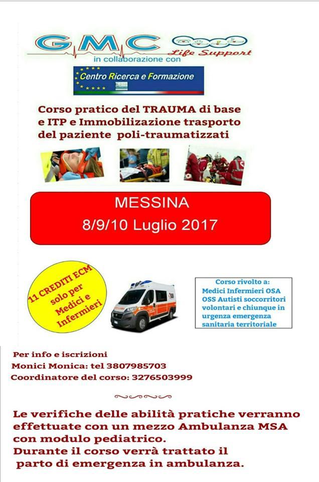 Corso pratico del trauma di base e ITP e immobilizzazione trasporto del paziente politraumatizzato