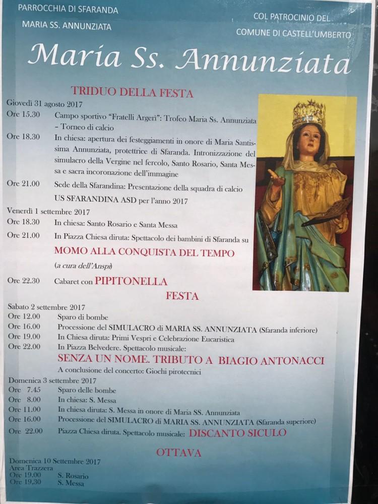 castell'umberto – nella contrada sfaranda la festa della madonna s.s annunziata (il programma)