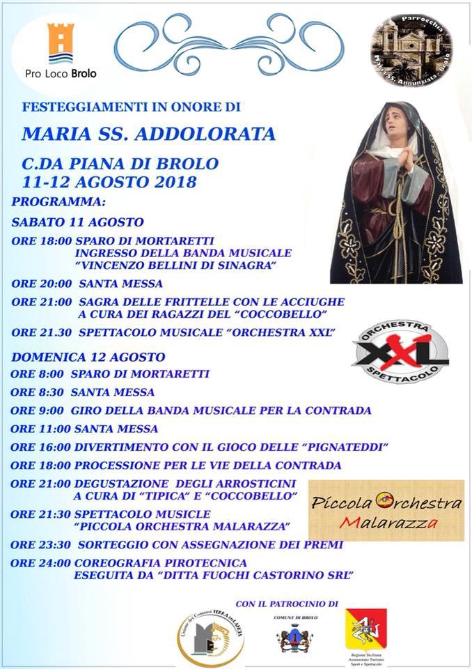 brolo – festeggiamenti in onore della madonna maria ss addolorata di piana. le anticipazioni!