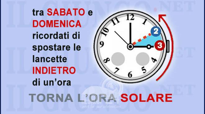 orario – tra sabato e domenica, torna l'ora solare lancette indietro di un'ora