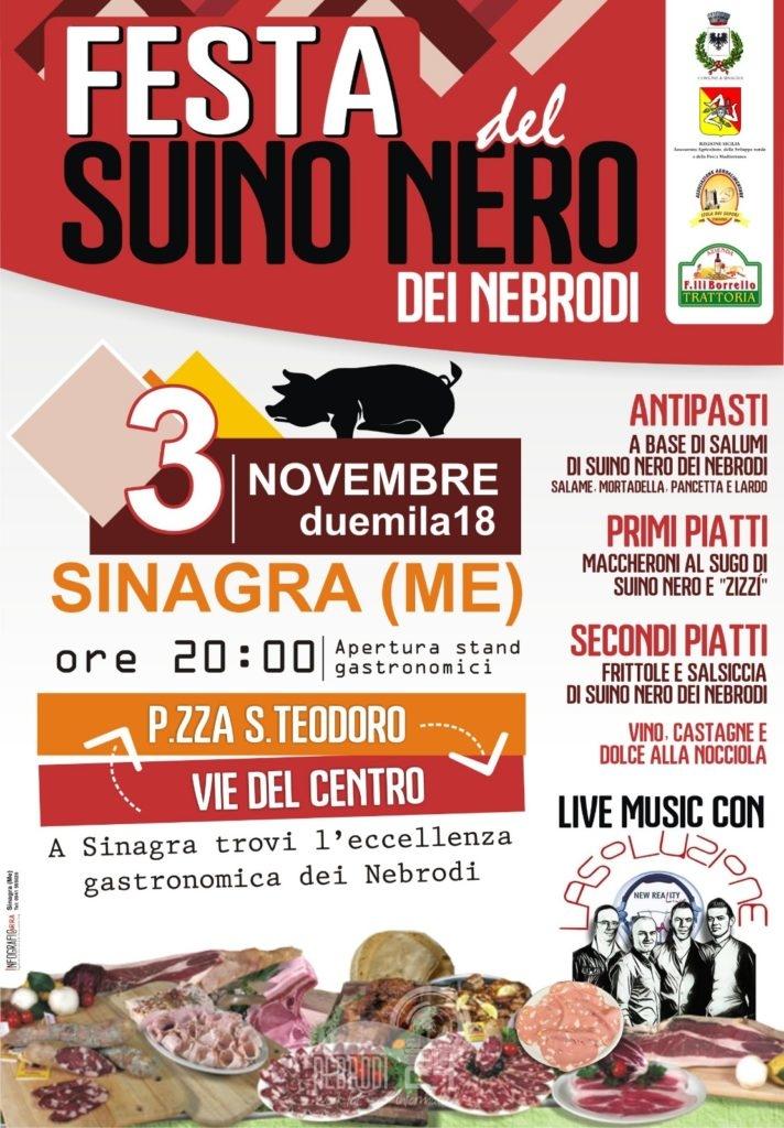sinagra – sabato prossimo 3 novembre la festa del suino nero dei nebrodi