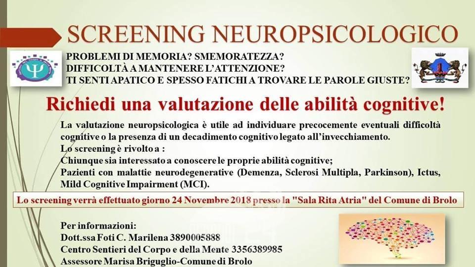 brolo – salute bene comune: screening neuropsicologico sulle abilità cognitive