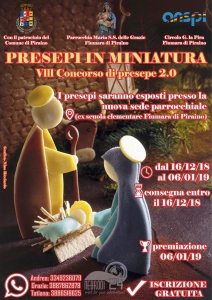 piraino – mostra – concorso dei presepi in miniatura. iscrizione gratuita