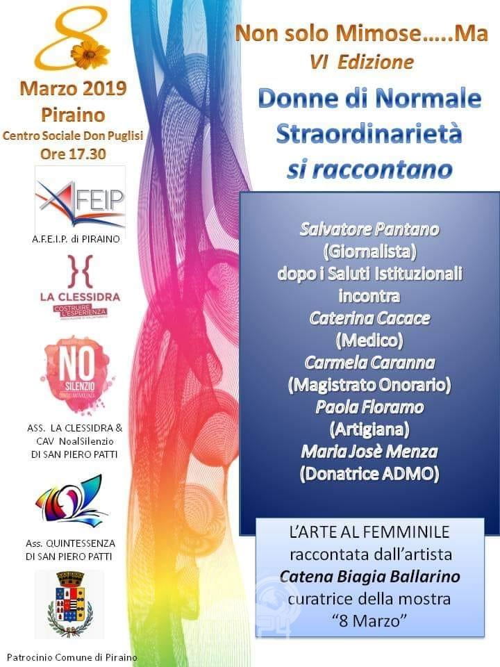 """piraino – centro sociale don puglisi: """"non solo mimose ma…""""  & """"8 marzo- l'arte al femminile"""""""