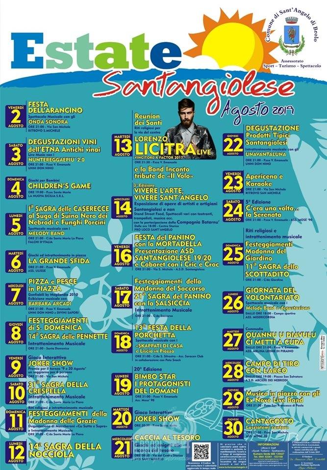 Santi Del Calendario.Sant Angelo Di Brolo Il Calendario Delle Manifestazioni