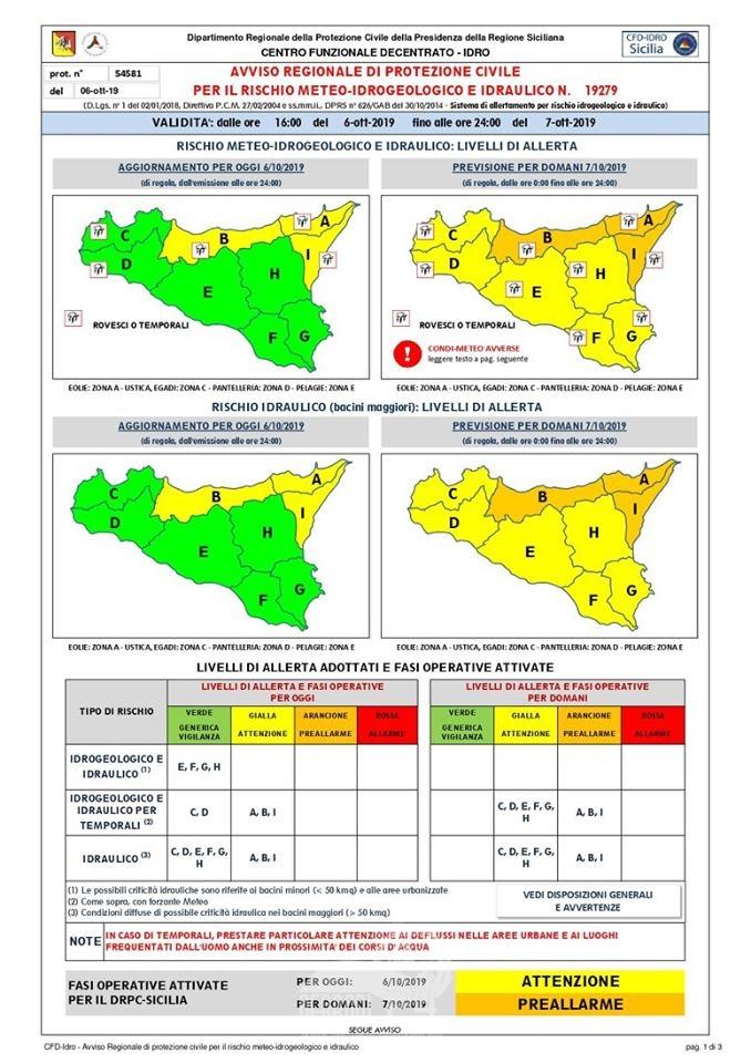 messina e provincia – condizioni meteo avverse per le prossime 36 ore