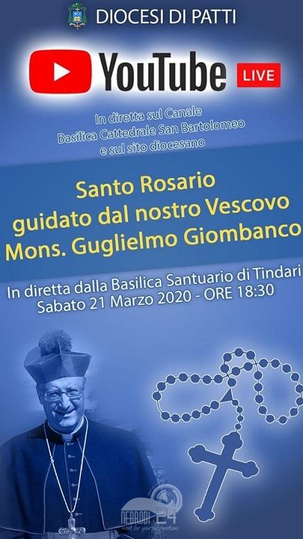 tindari – stasera recita del rosario con il vescovo giombanco in diretta streaming e facebook alle 18,30