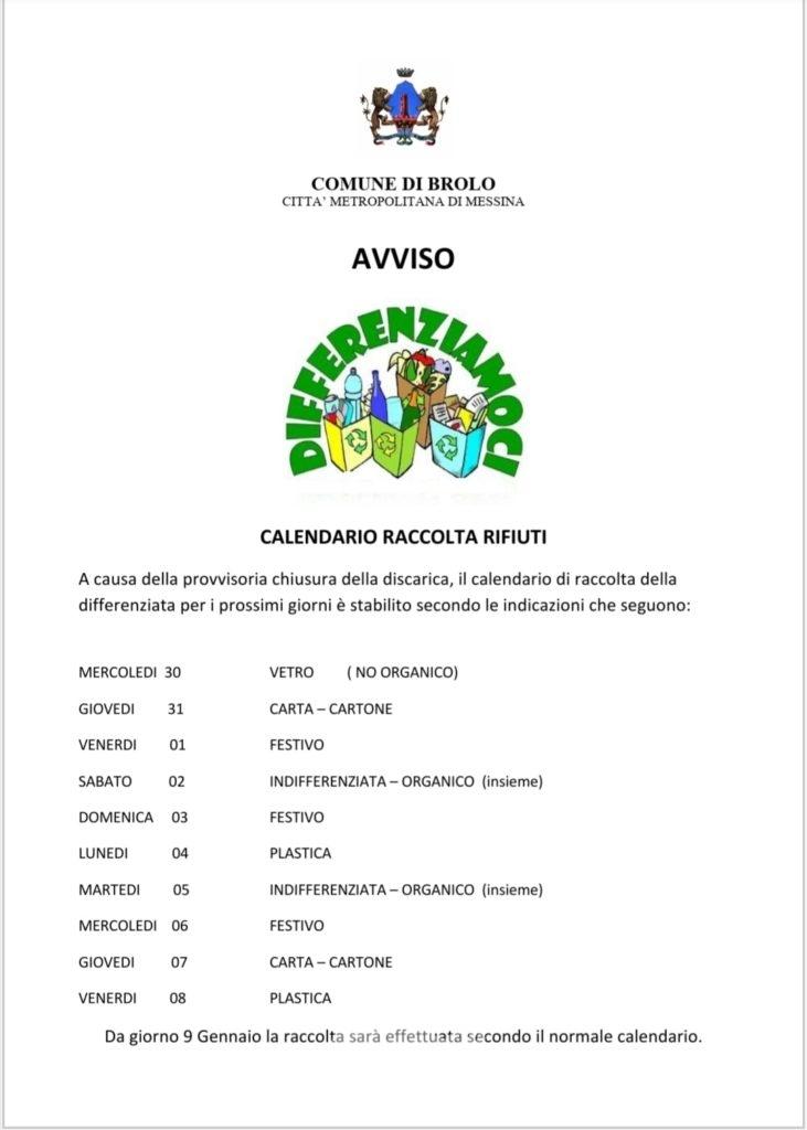 brolo – il calendario della raccolta rifiuti fino all'8 gennaio 2021