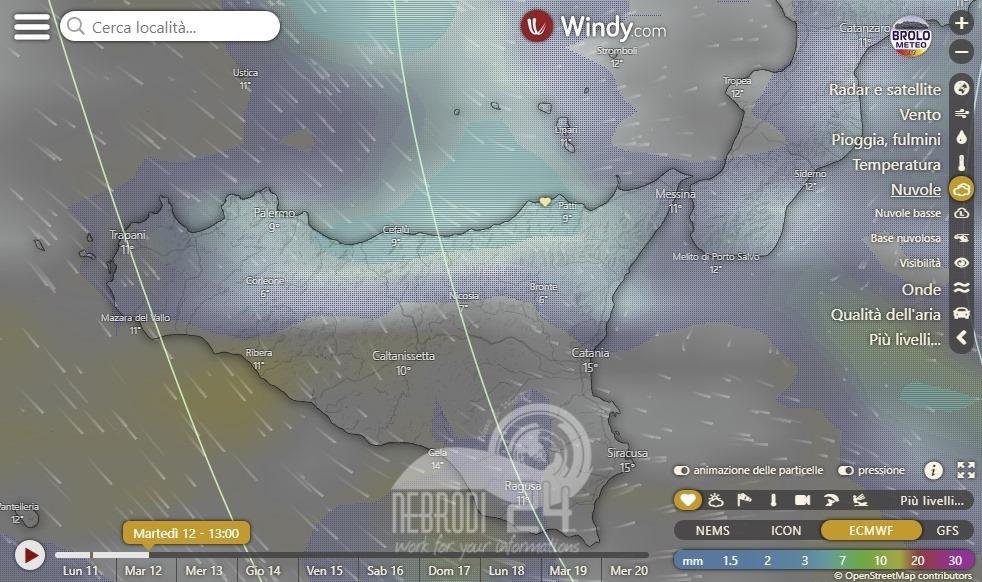 brolometeo – le previsioni dicono deboli piogge, con nuvolosità in aumento associata a piovaschi verso l'alba