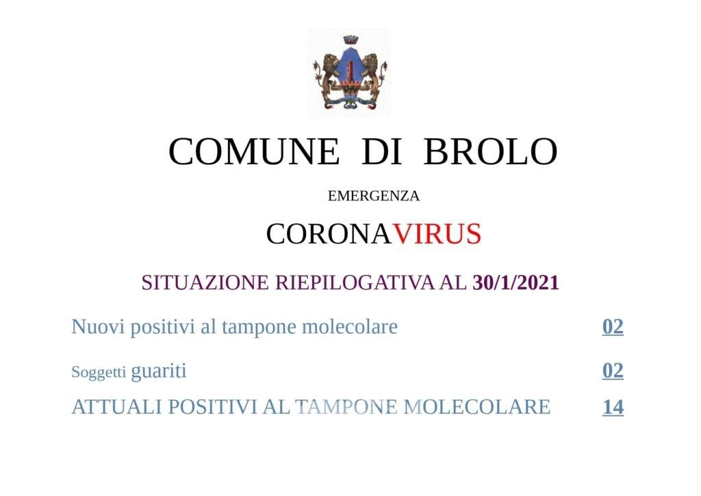 brolo – covid19: pari e patta tra positivi e guariti, si resta sul 14!